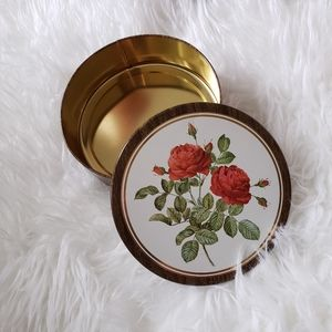 Vintage Red Rose Tin Container